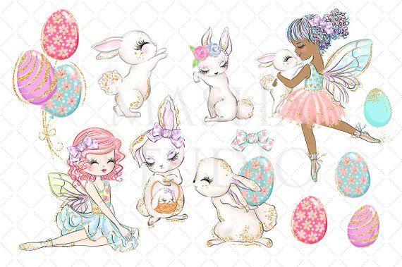 Fuzzy bunny . Clipart easter fairy