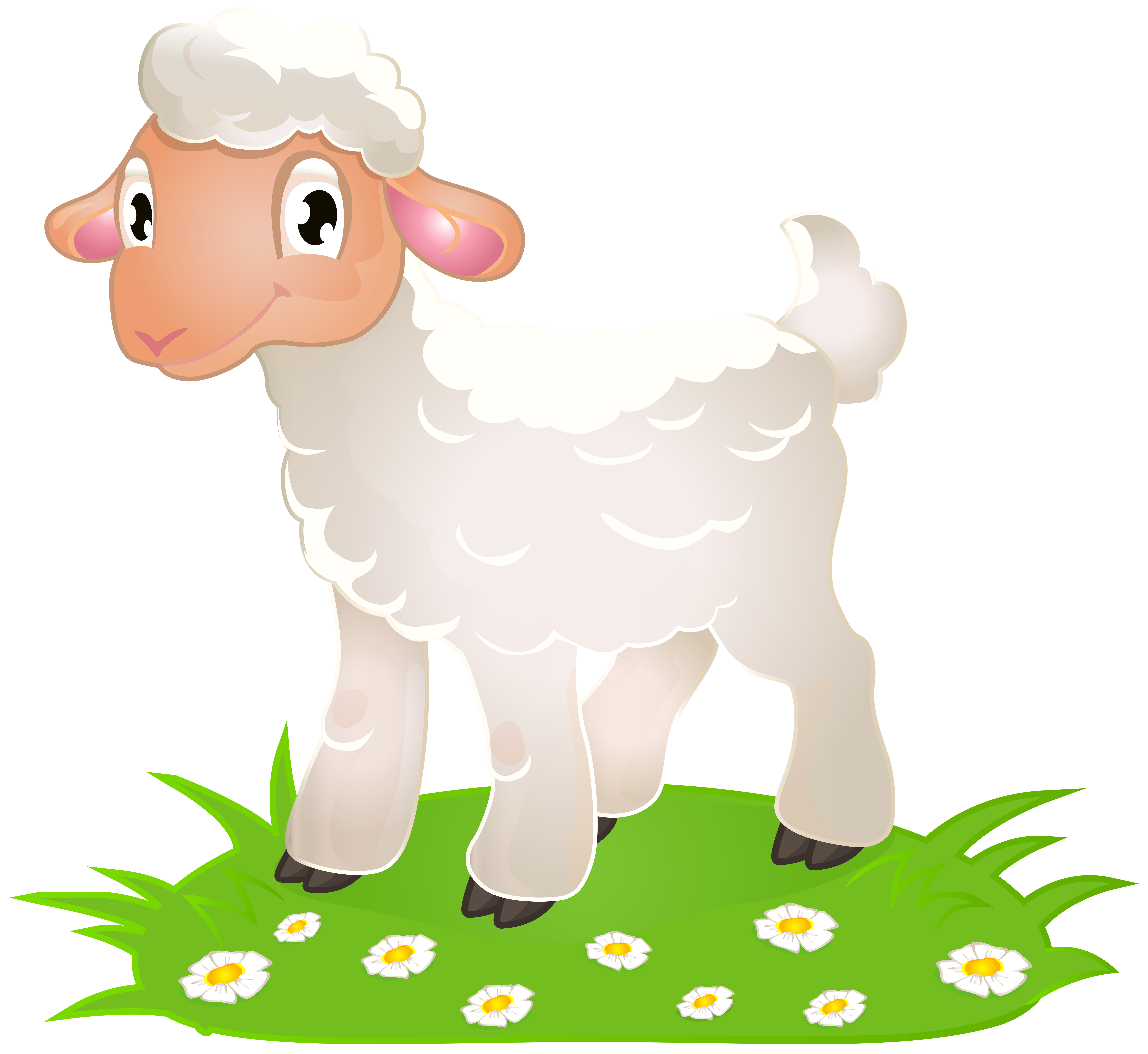 Easter with grass png. Lamb clipart primitive