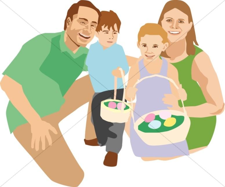 At egg . Clipart easter family