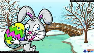 An bunny carrying a. Frozen clipart easter