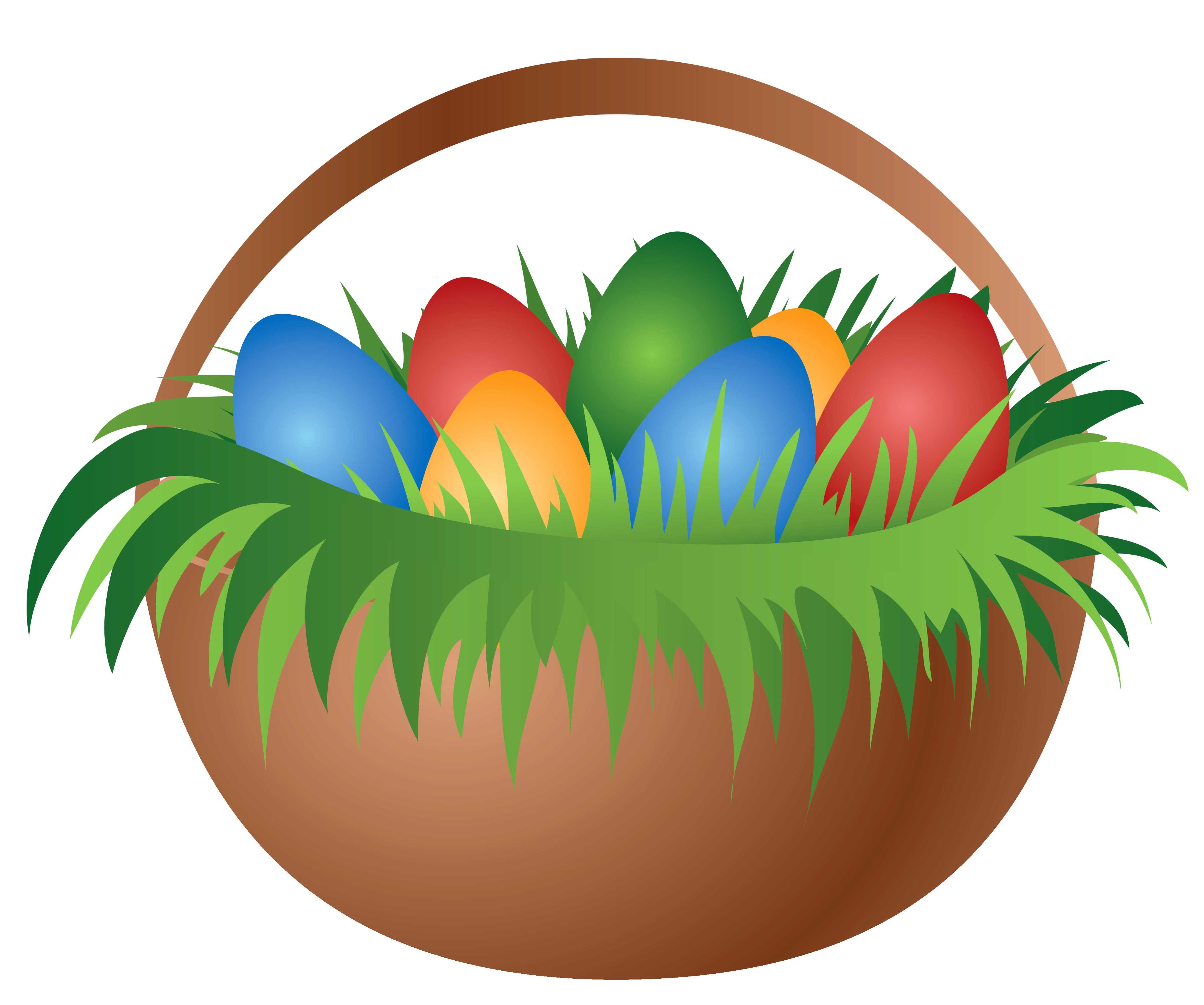Clipart grass easter egg. Painted basket with eggs