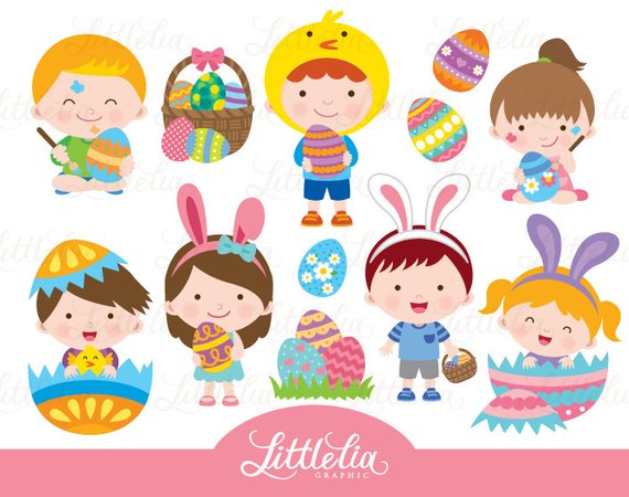 Easter clipart kid. Products in