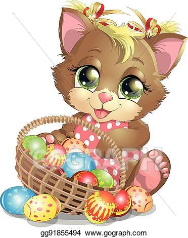 Eps vector beautiful stock. Easter clipart kitten