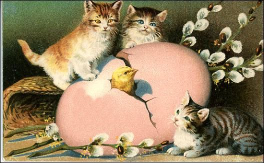 Vintage greeting card free. Clipart easter kitten