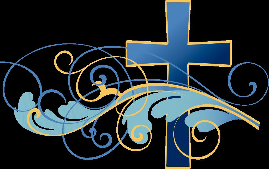 Swirls and christian cross. Clipart easter mass