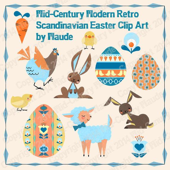 Clip art mid century. Easter clipart modern