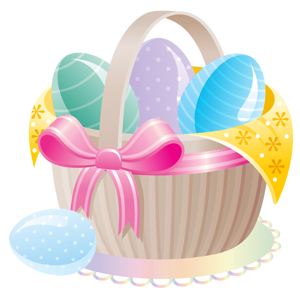 Clipart easter money. Delicate basket with eggs
