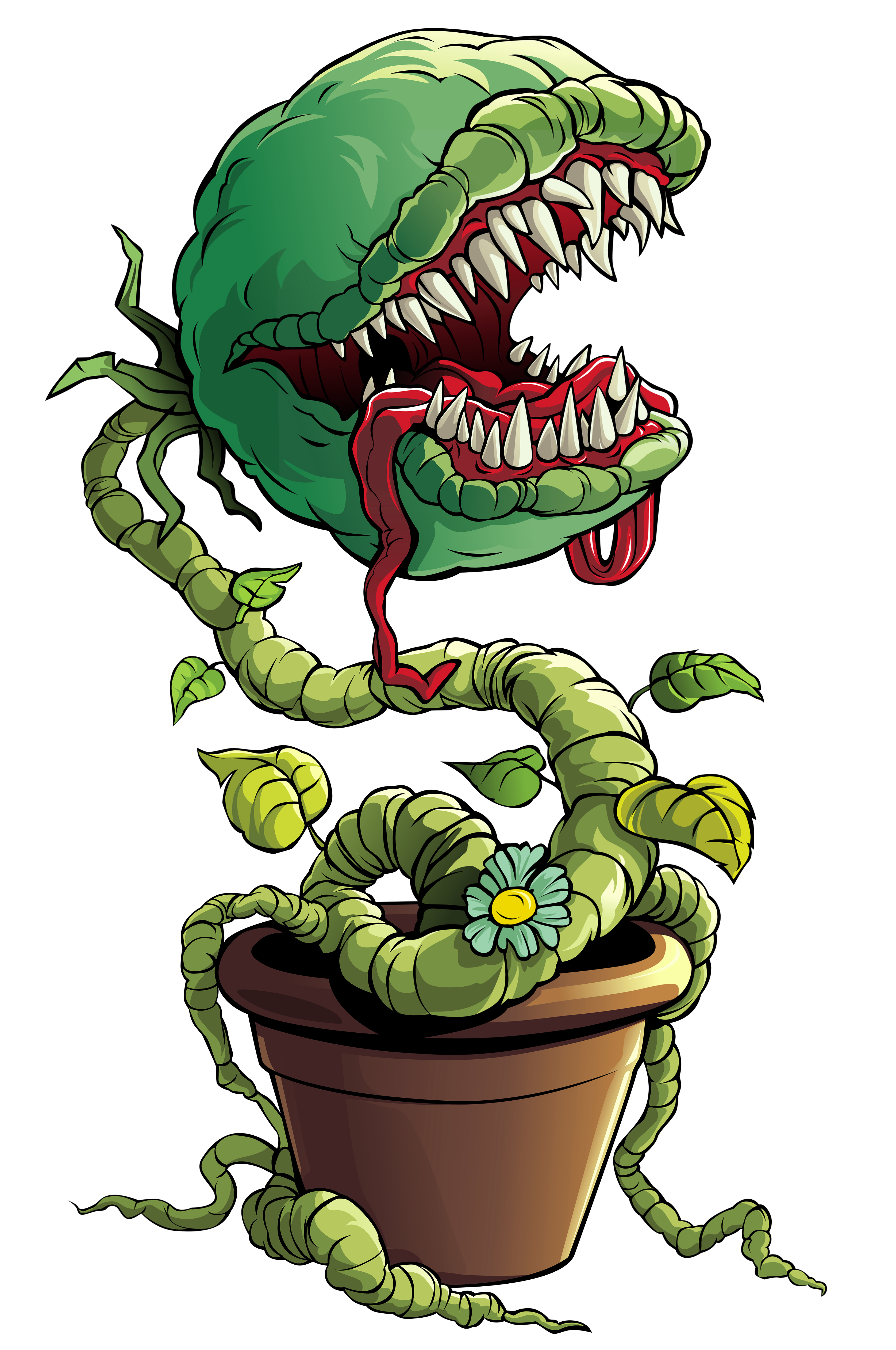 Venus trap plant monster. Fly clipart summer