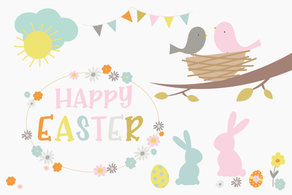 Happy and set . Clipart easter paper