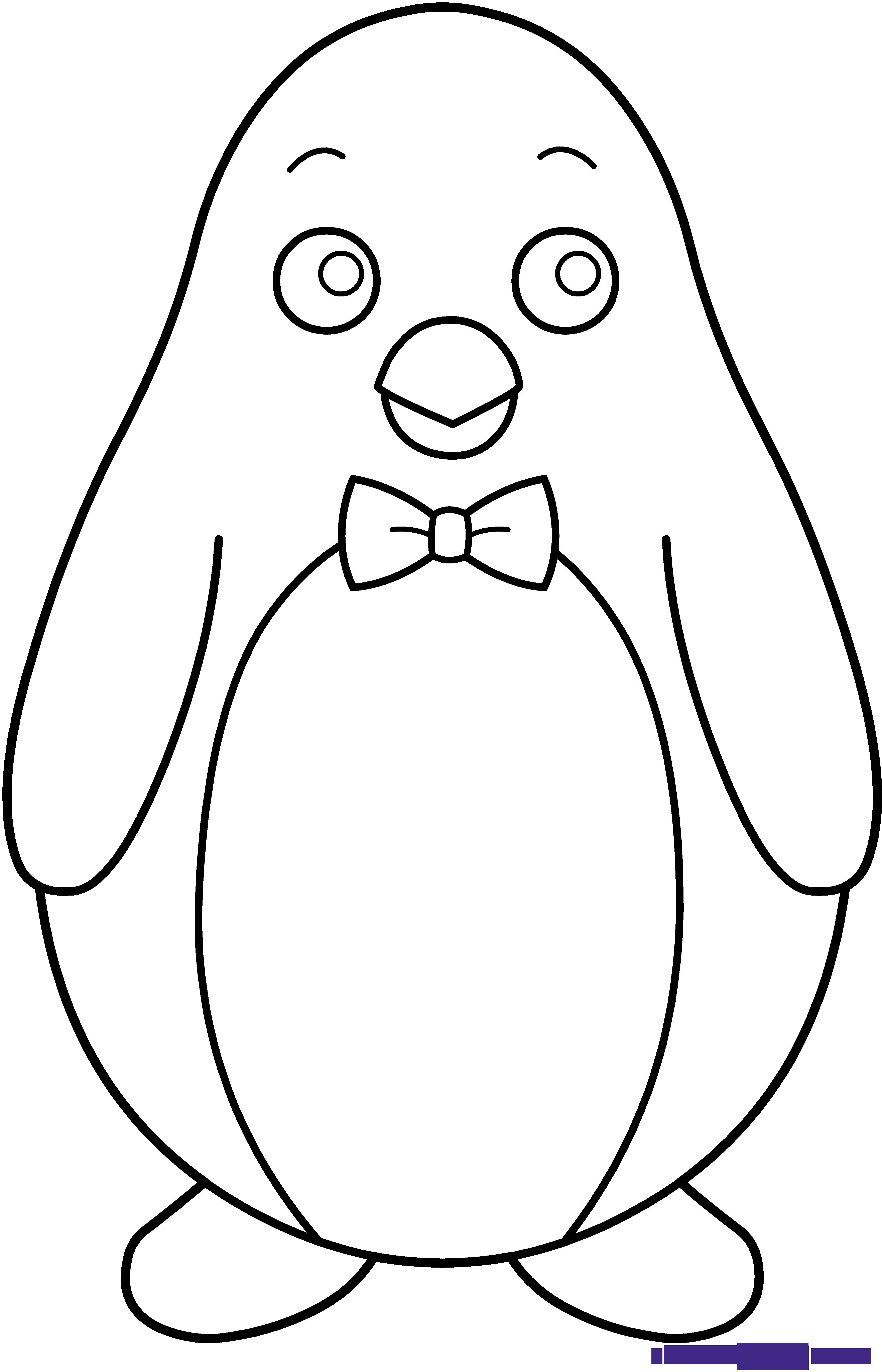 Penguin line art sweet. White clipart bowtie