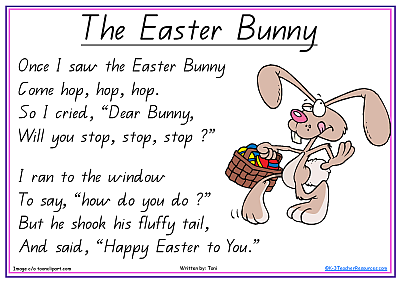 The bunny printable short. Clipart easter poem