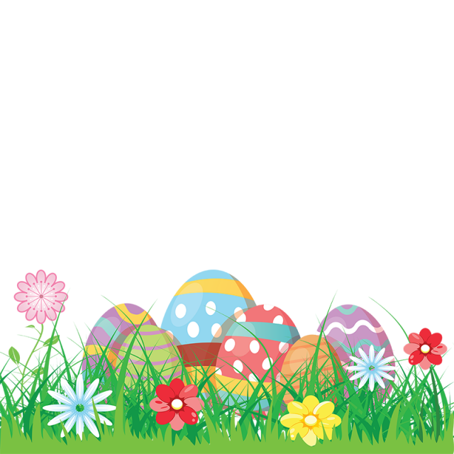 Colorful easter eggs flowers. Grass vector png