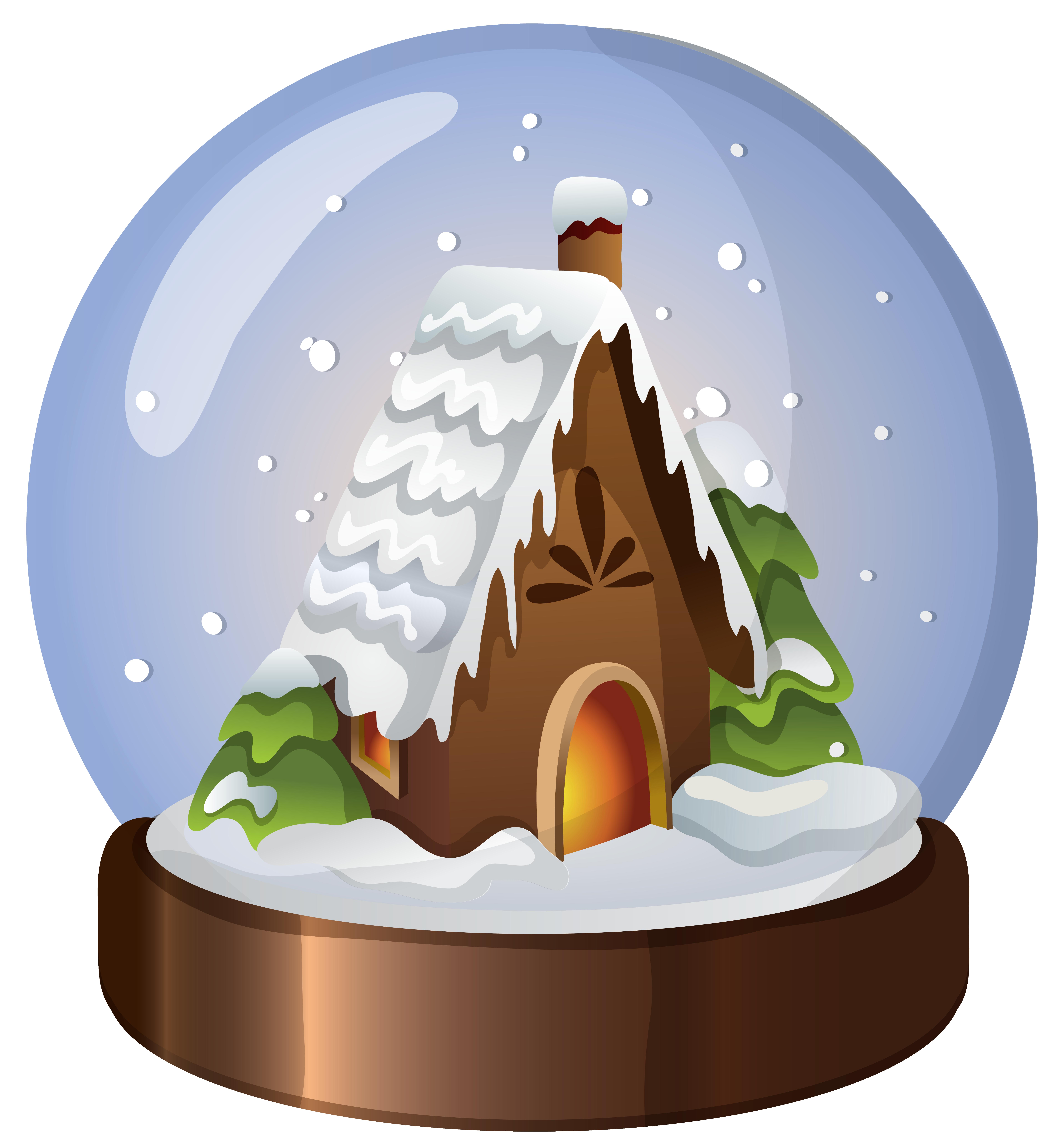 Christmas house snow globe. Clipart easter scene