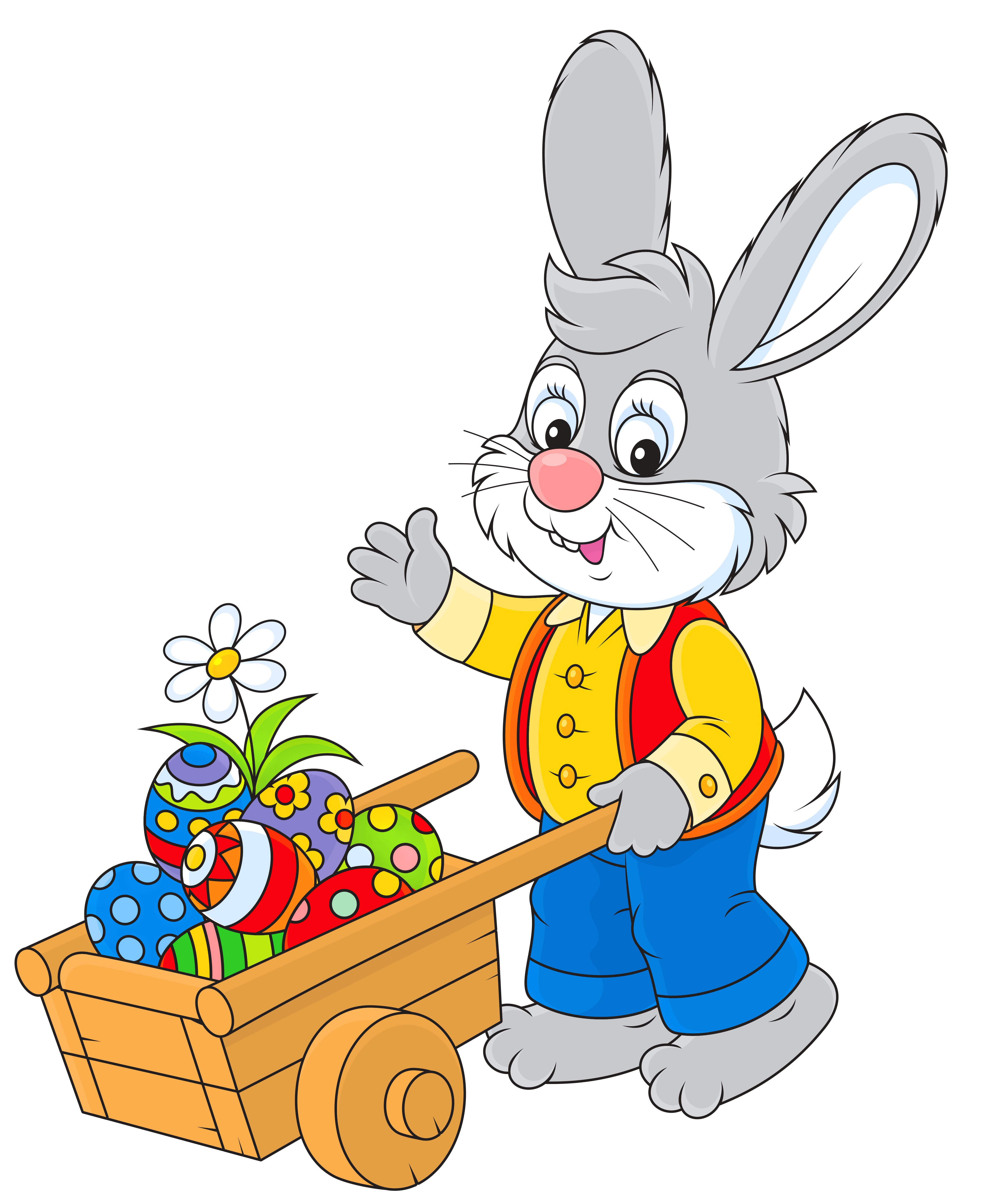 Bunny with egg cart. Clipart easter sign