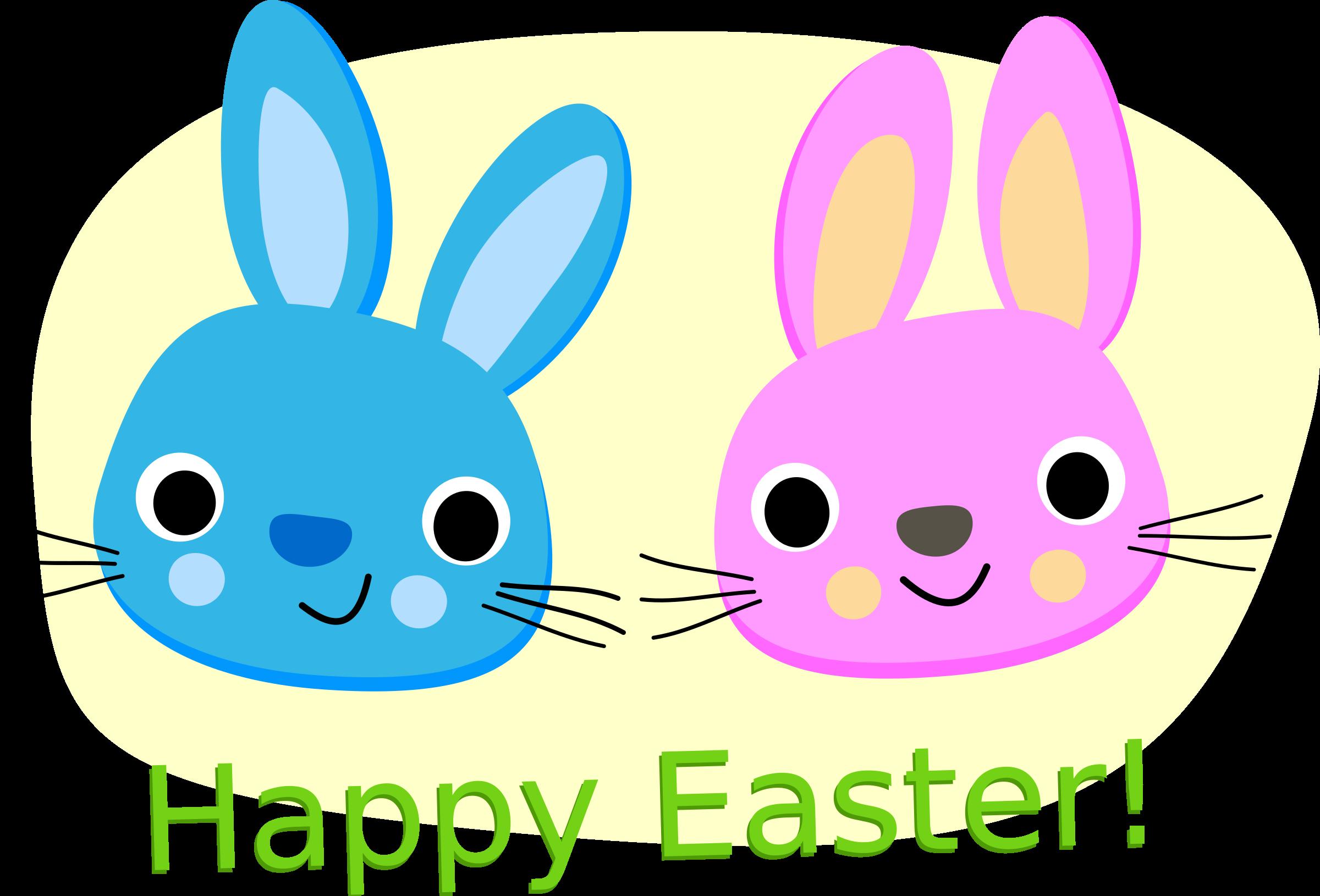 Happy rabbits big image. German clipart easter