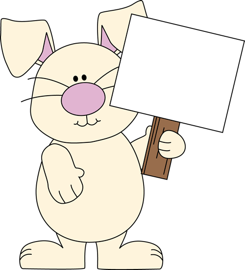 Clip art bunny with. Clipart easter sign