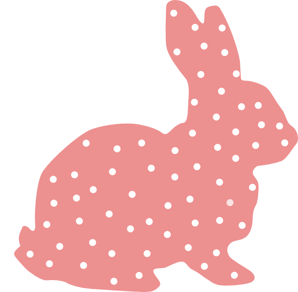 Clipart easter silhouette. Pink bunny polka dot