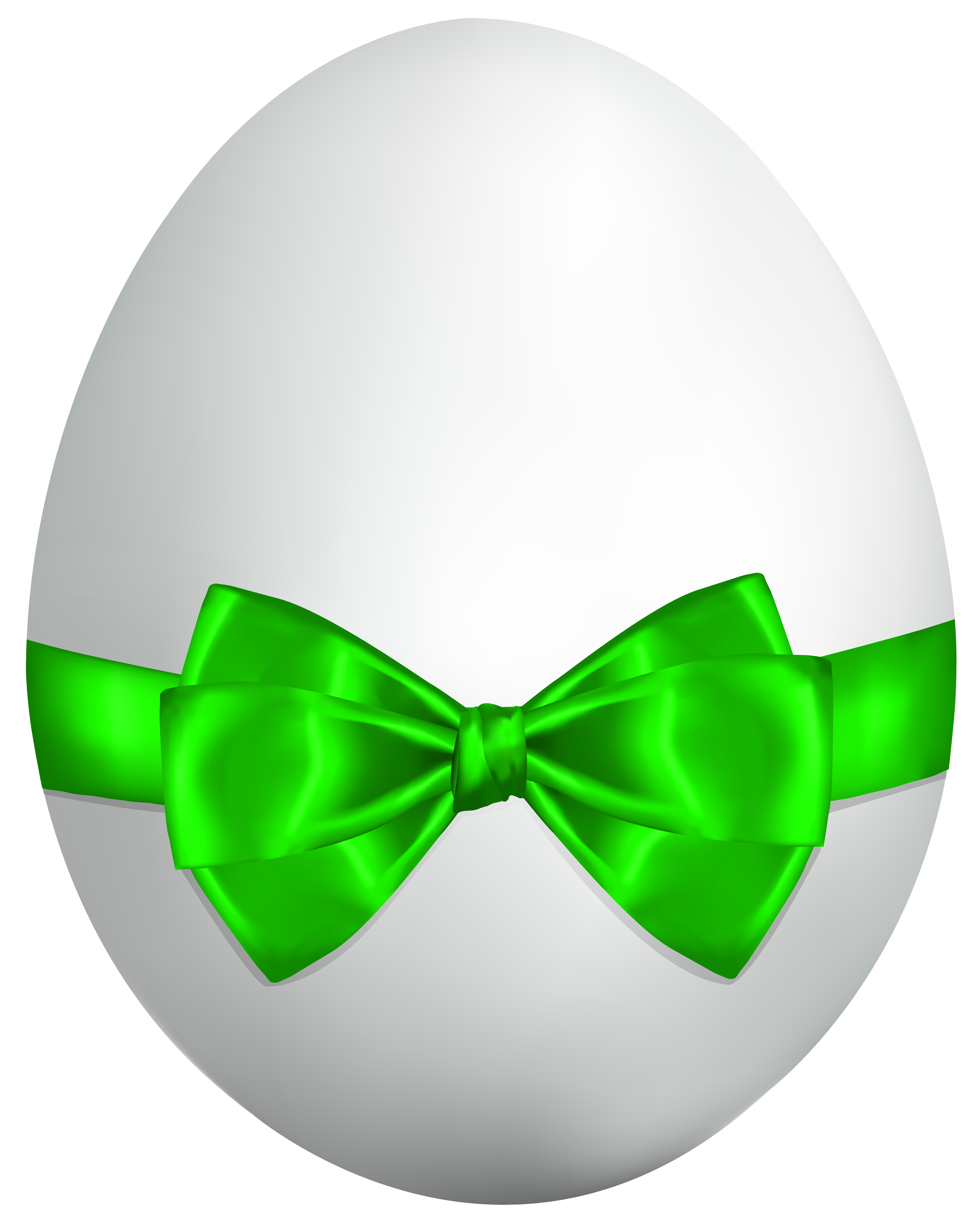 White egg with green. Clipart easter symbol