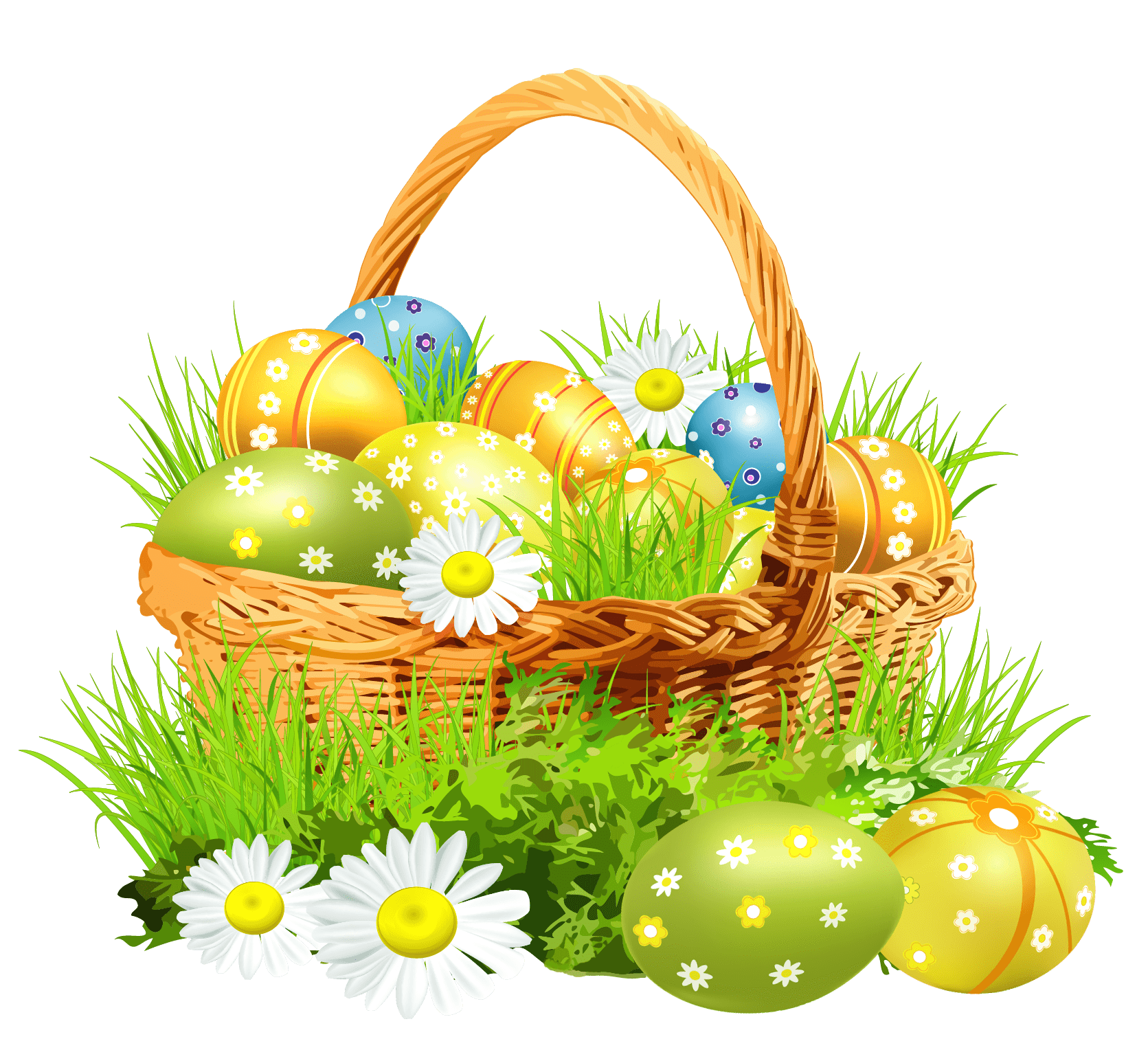 Basket flowers transparent stickpng. Easter png images