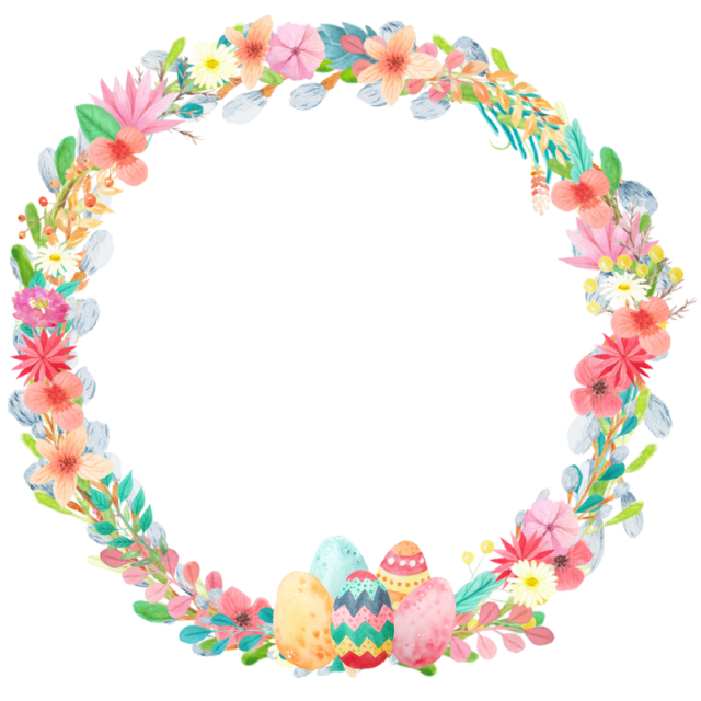Easter wreath spring png. Eggs clipart watercolor