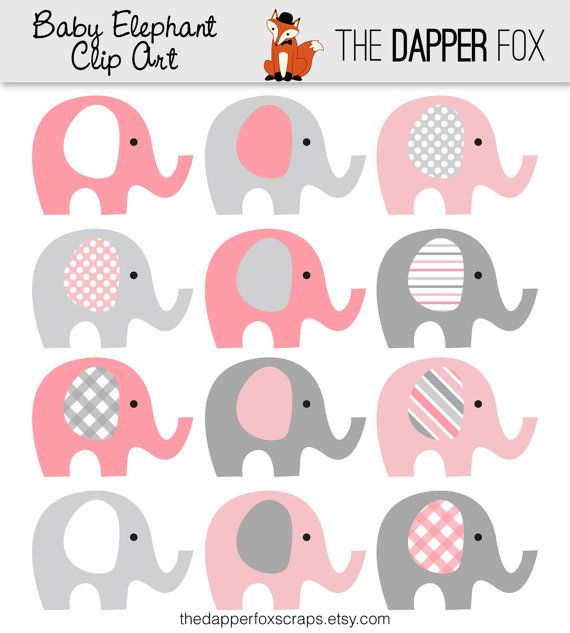 Elephant clipart baby girl. Pink and grey clip