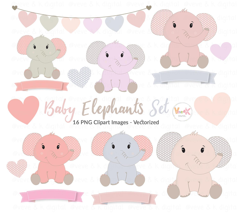 Elephant clipart baby girl. Cute elephants clip art