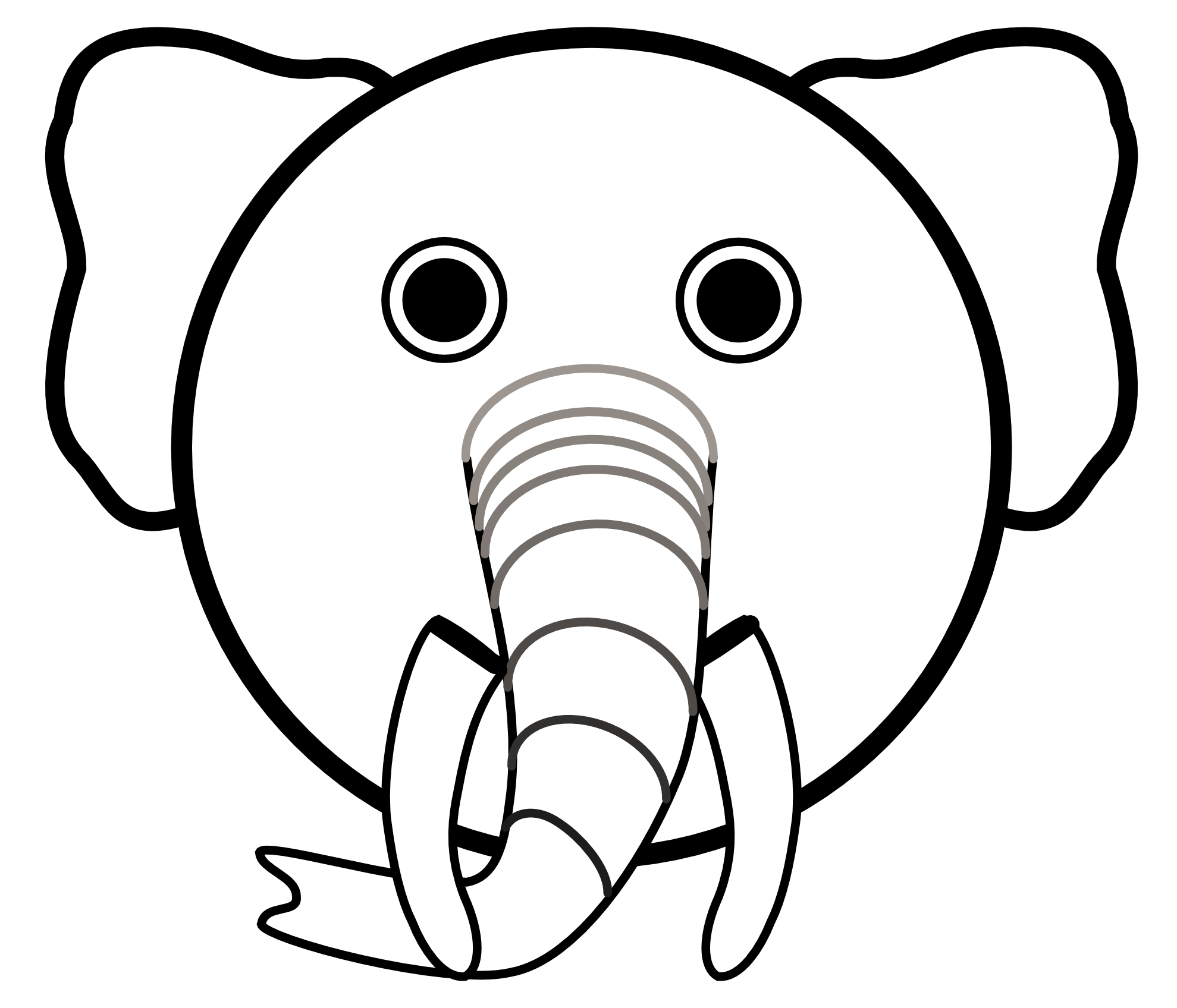 Cute panda free elephantheadclipartblackandwhite. Clipart elephant black and white