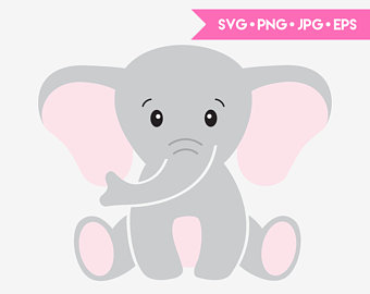 Clipart elephant body. Svg etsy