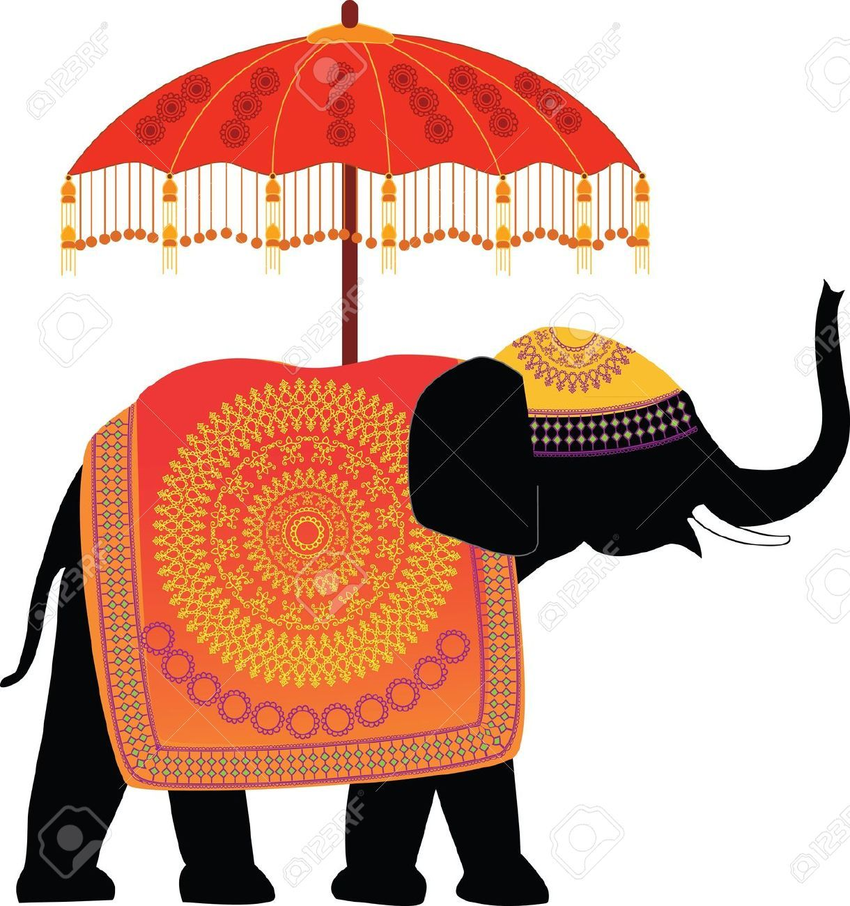 Clipart elephant designer. Stock vector art craft