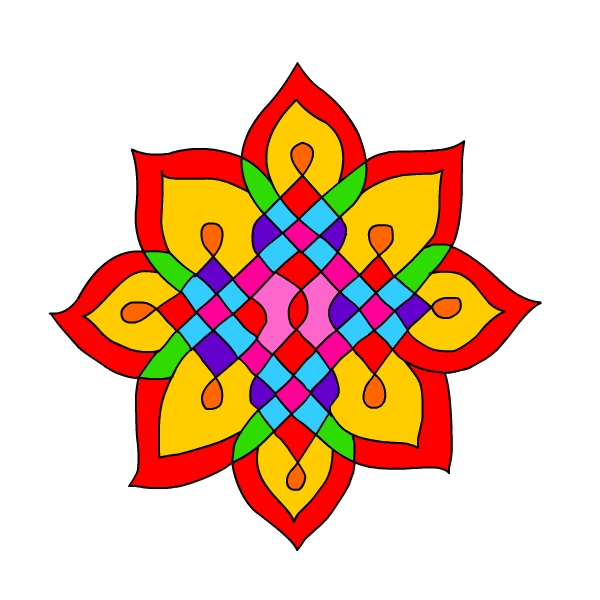 Diwali rangoli pattern . Cracker clipart aarti