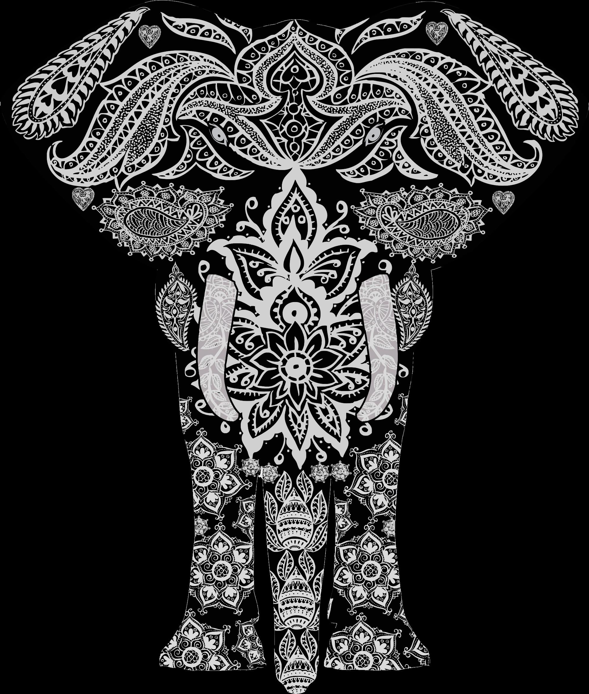 Clipart elephant floral. Pattern big image png
