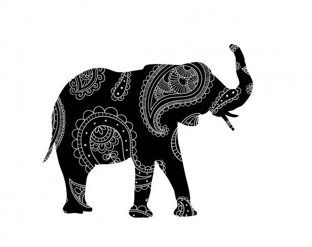 Henna free stock photo. Clipart elephant floral