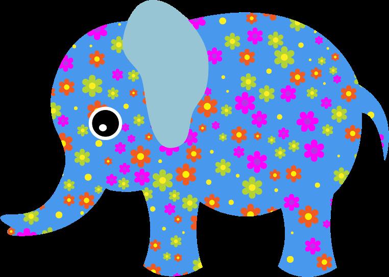 Retro blue medium image. Clipart elephant floral