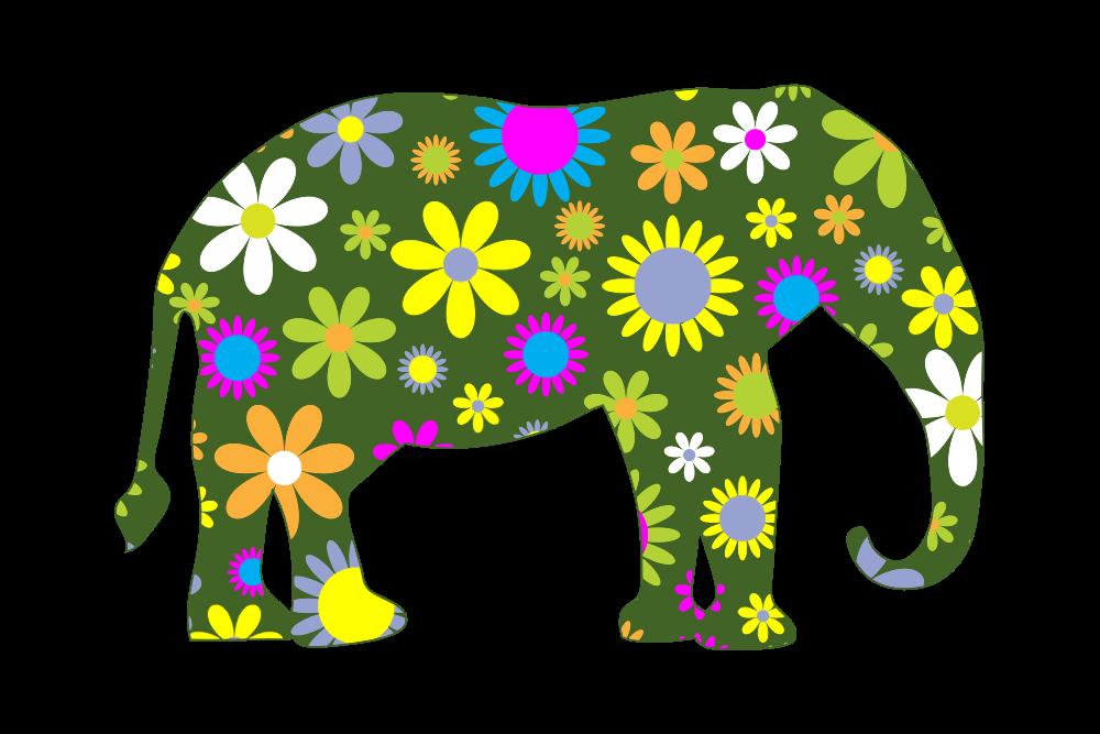 Clipart elephant floral. Onlinelabels clip art retro