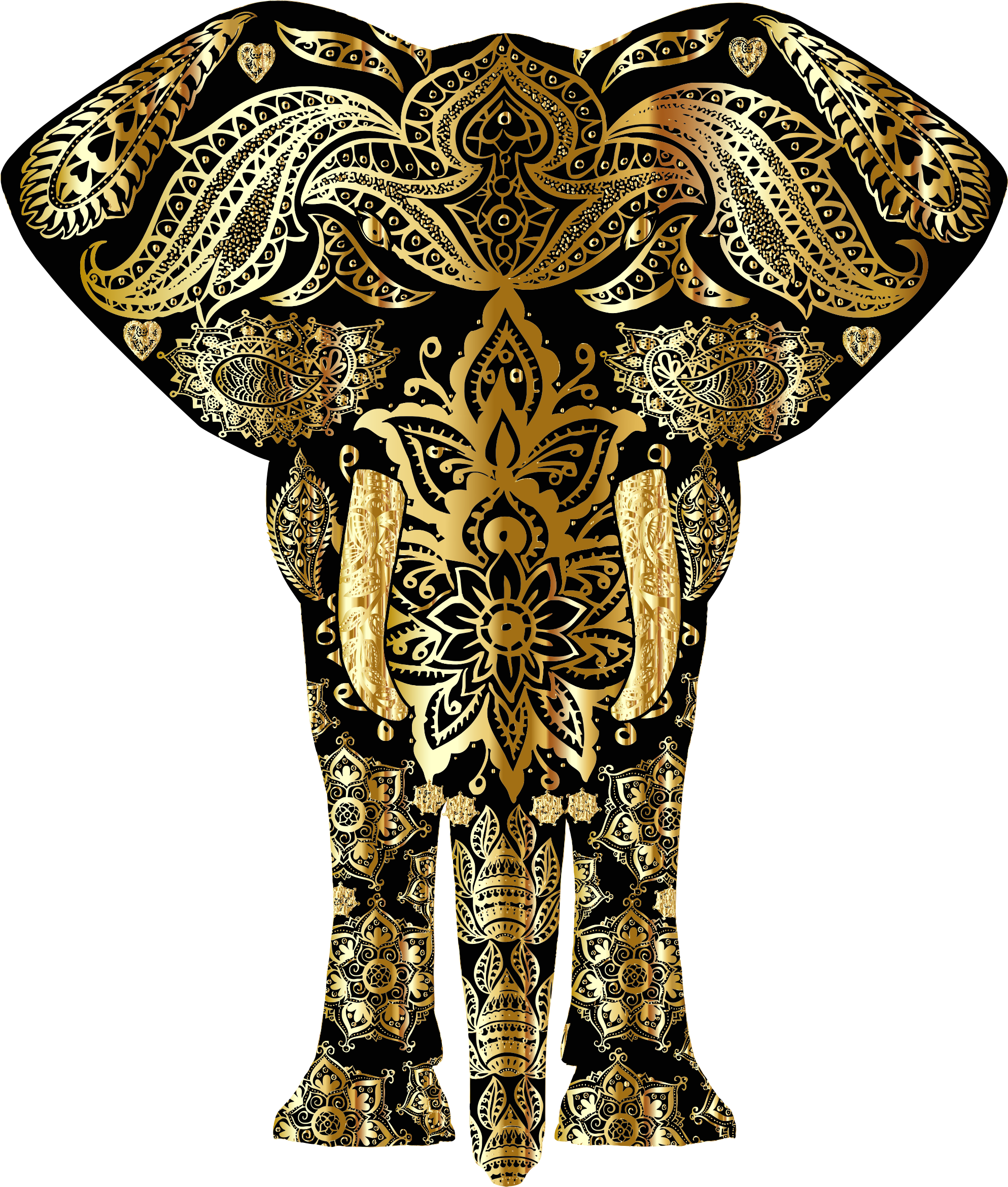 Clipart elephant floral. Gold pattern big image