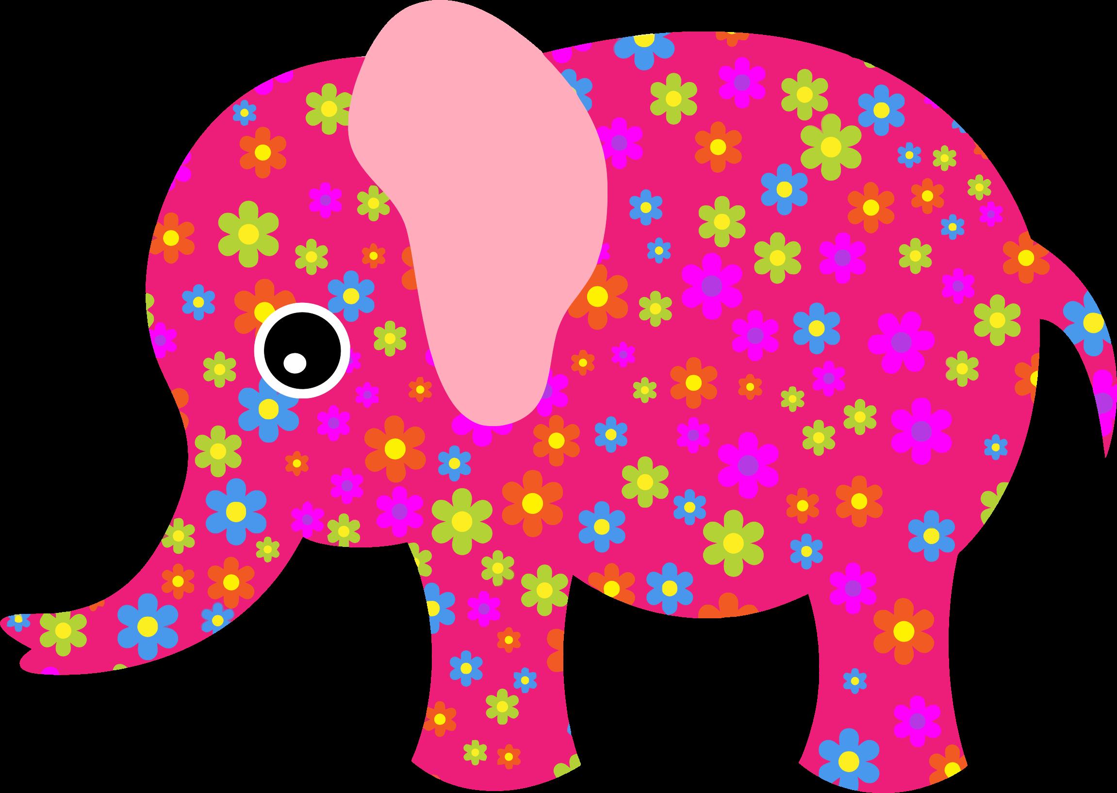 Retro pink big image. Clipart elephant floral