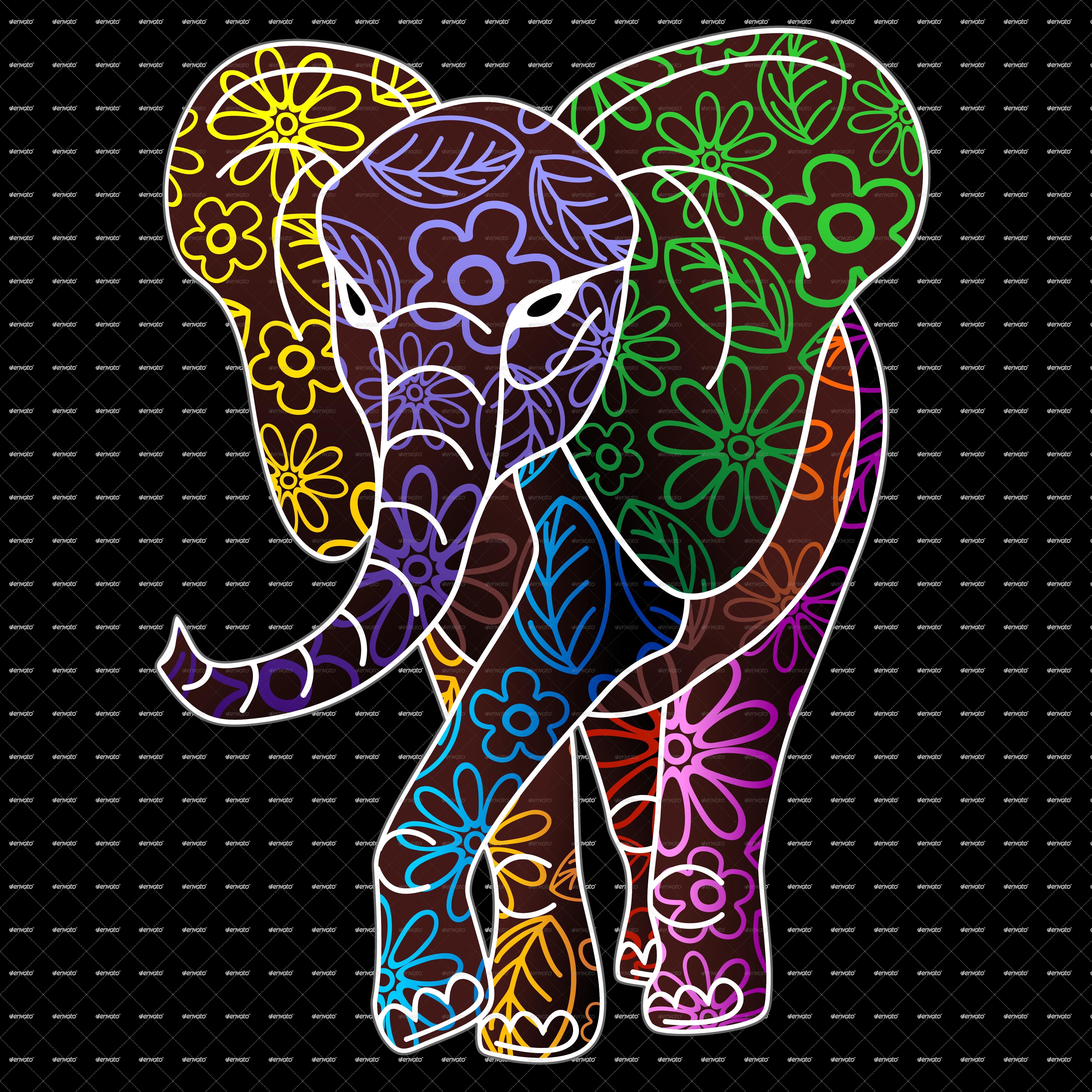 Clipart elephant floral. Batik art design by