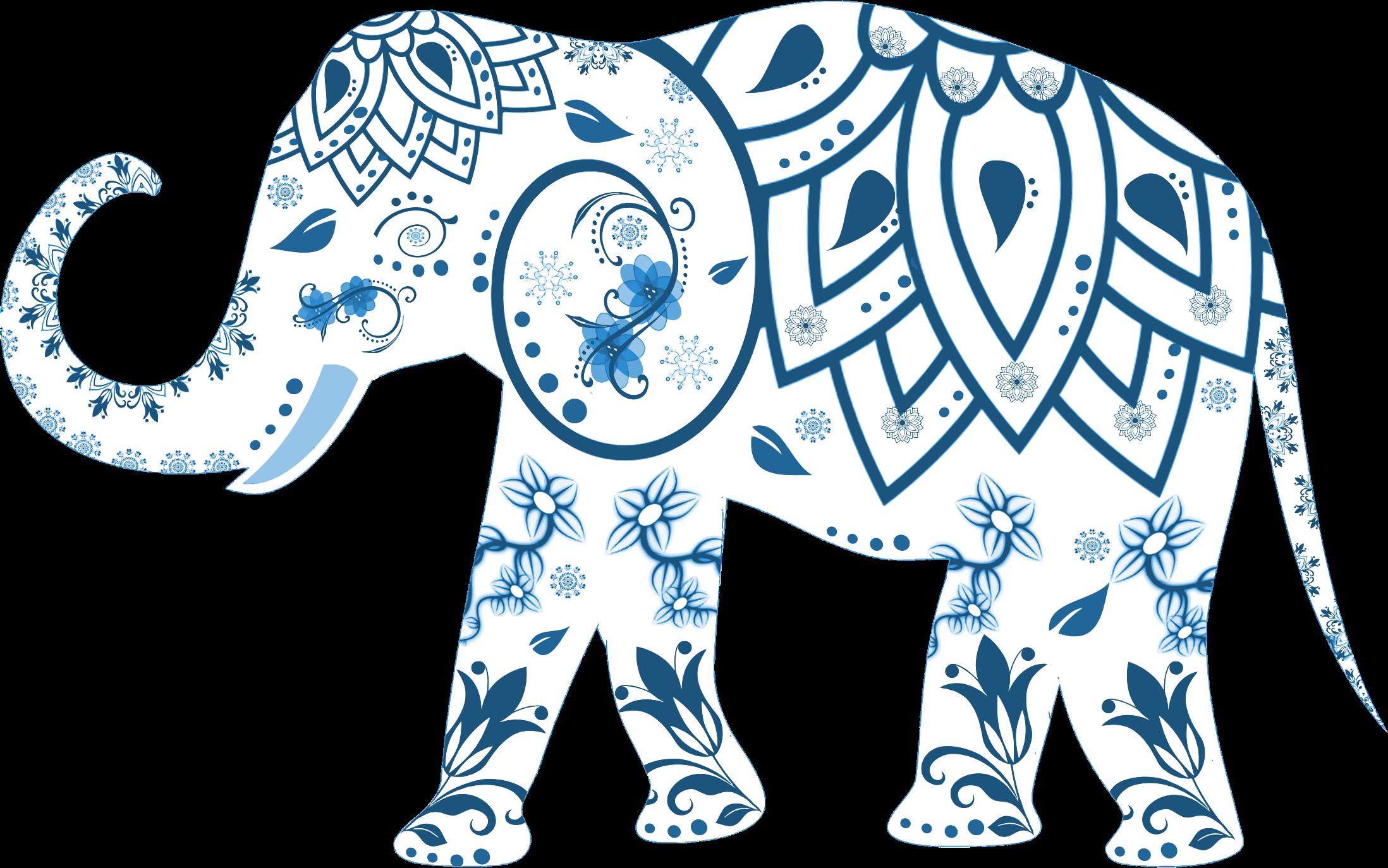 Clipart elephant floral. Flourish decorated big image
