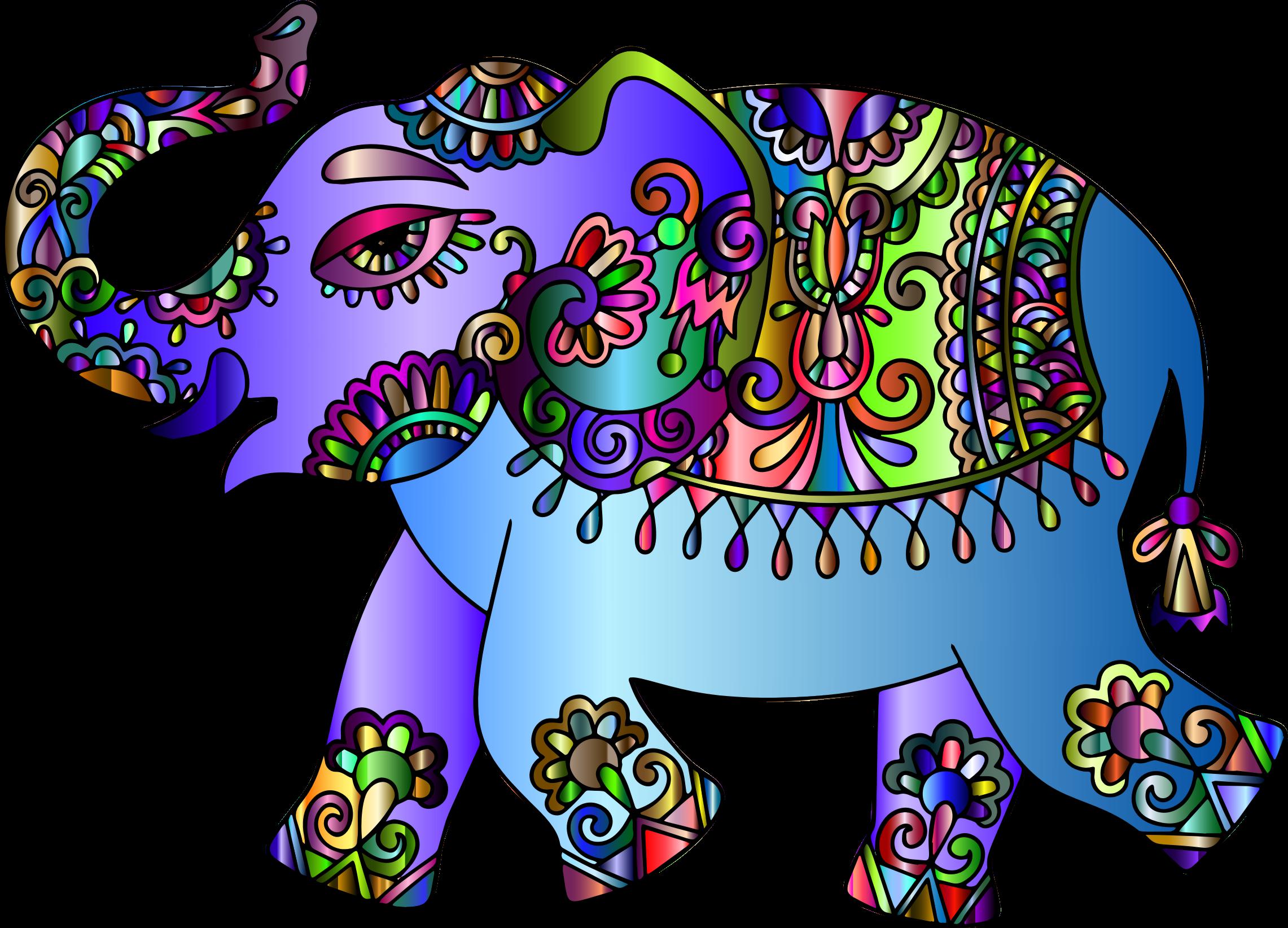 Prismatic playful big image. Clipart elephant floral