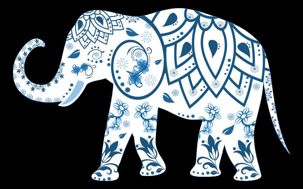 Clipart elephant floral. Onlinelabels clip art flourish