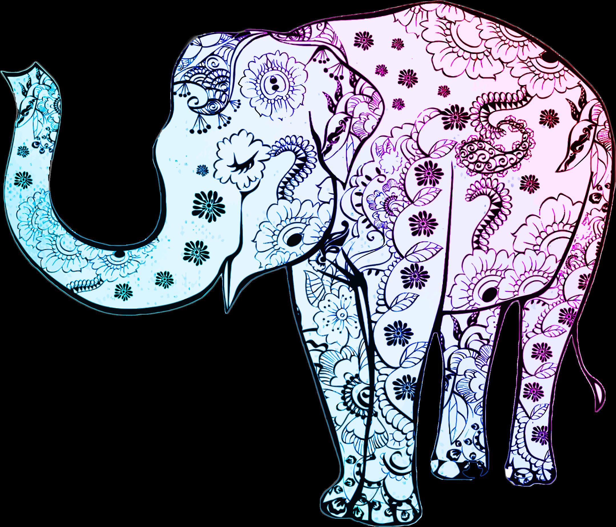 Clipart elephant floral. Blue big image png