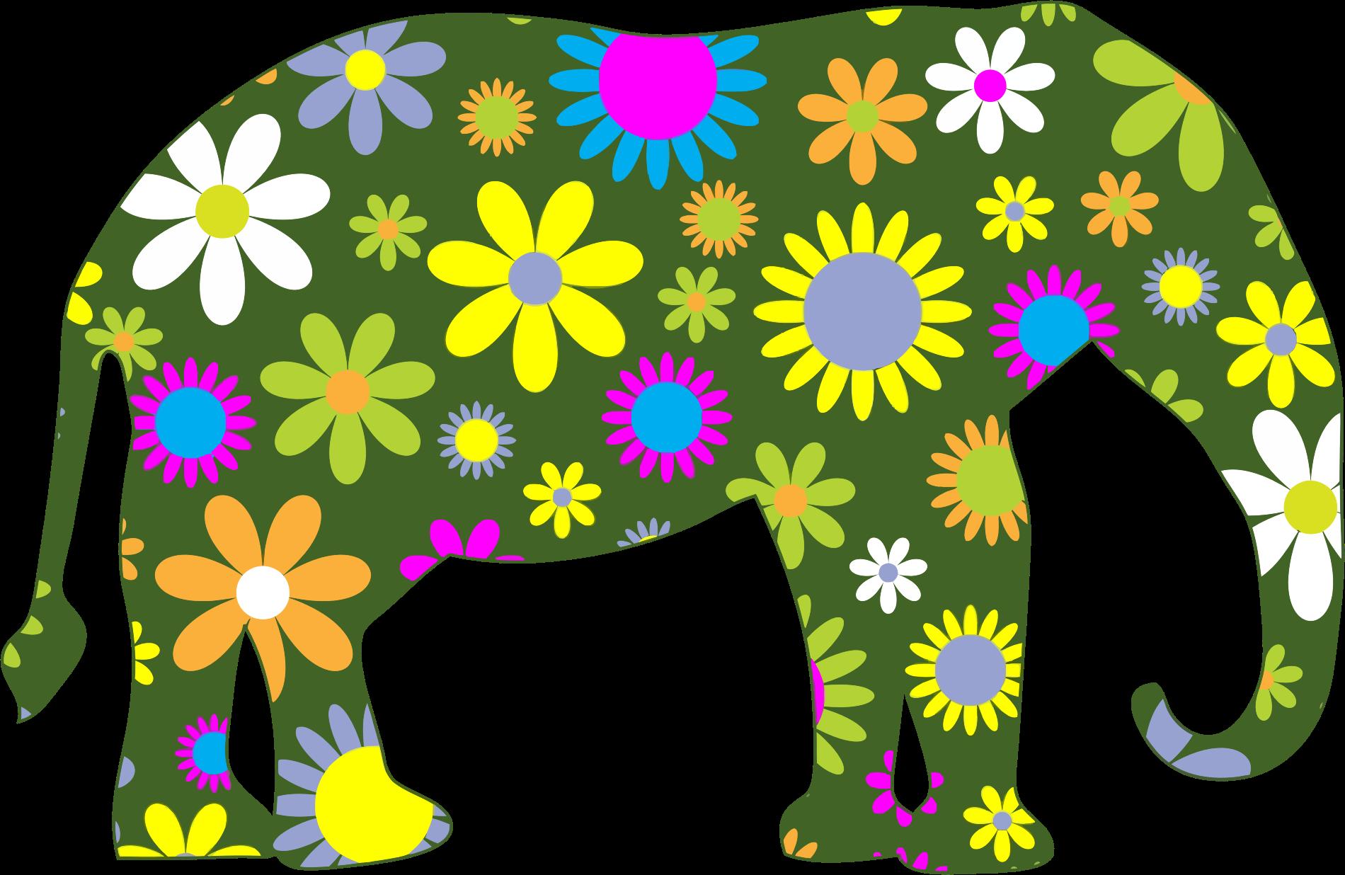 Retro floral big image. Colors clipart elephant