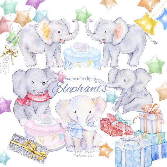Watercolor digital lovely baby. Clipart elephant friend