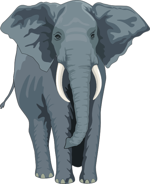 Clipart elephant front. Walking view clip art