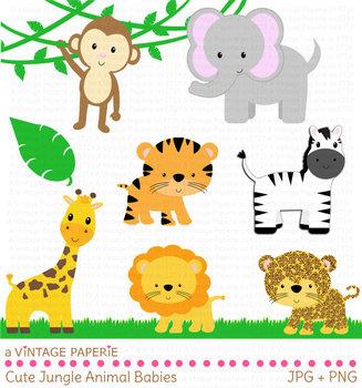 Safari or jungle animals. Clipart elephant giraffe