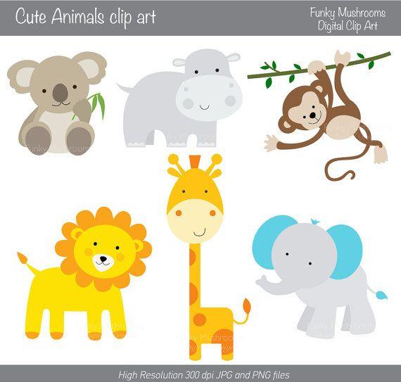 Clipart elephant giraffe.  digital cute animals