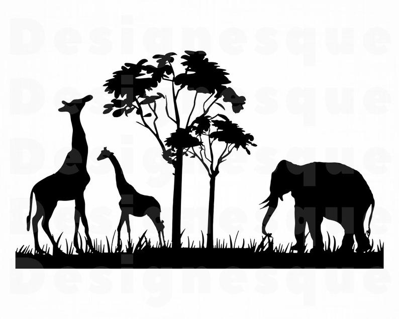 Safari svg files for. Clipart elephant giraffe