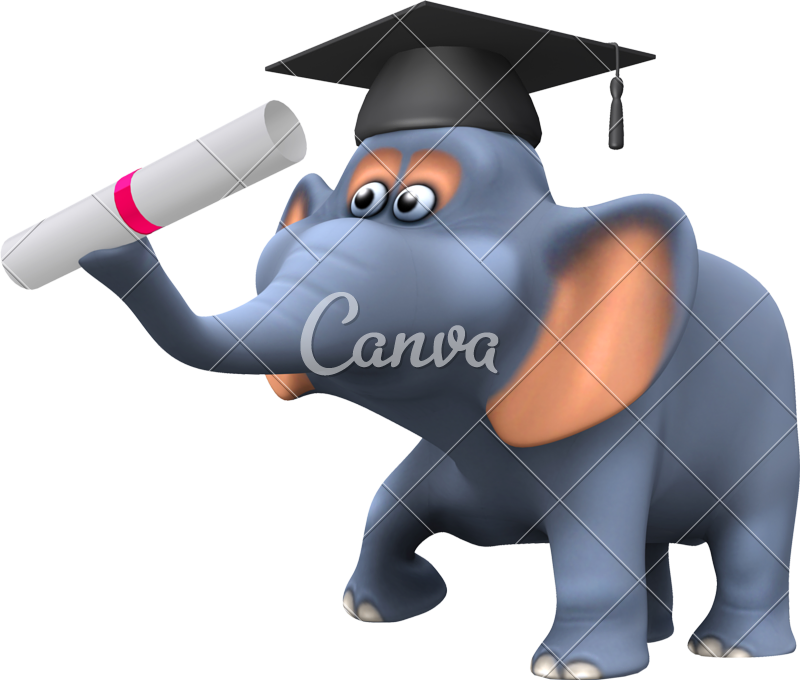 d with a. Clipart elephant graduation