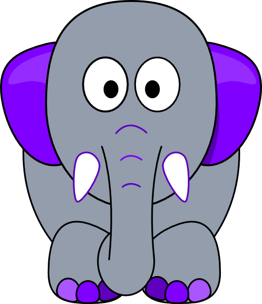 Clipart elephant grey. Purple accents clip art