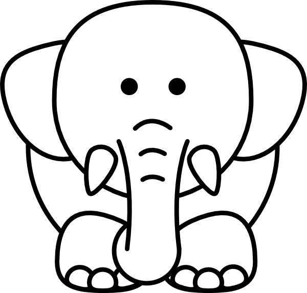 E clipart elephant coloring page. Cartoon bw clip art